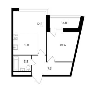 Планировка 2-комнатной квартиры в Авентин